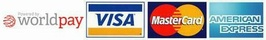 Mastercard, Visa Credit, Visa Debit, Laser cards and Amercian Express accepted